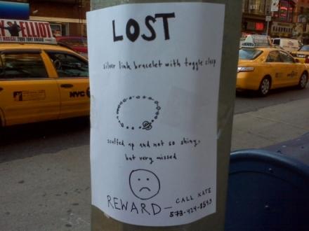 lost sad sign for jewlery