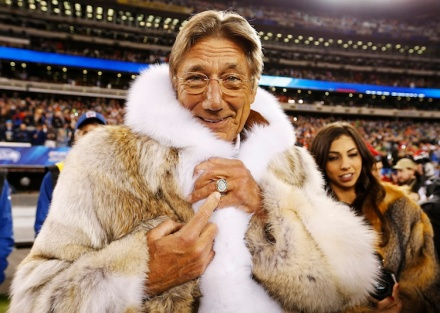 Former Jets quarterback Namath points to his championship ring before the Seahawks play the Broncos in the NFL Super Bowl XLVIII football game in East Rutherford